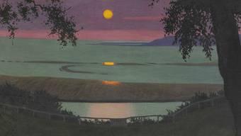 Das Gemälde 'Coucher de soleil a Grace, ciel orange et violet' (1918) des Schweizer Künstlers Felix Vallotton