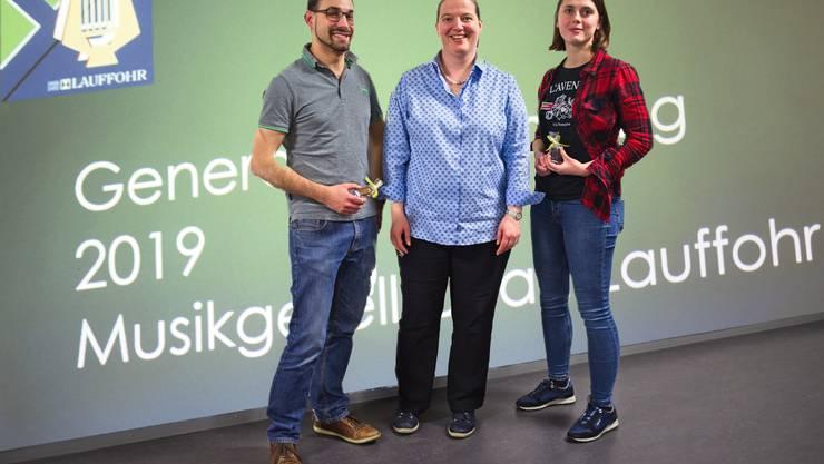 Unsere neue Präsidentin Regula Zwicky (Mitte) mit unseren neuen Mitgliedern (Thomas Gitz und Ariane Monnard)