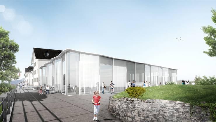 So präsentiert sich der Glaskubus-Anbau des Kurhauses Weissenstein von Osten her. Hier sollen Anlässe mit bis zu 500 Personen stattfinden.