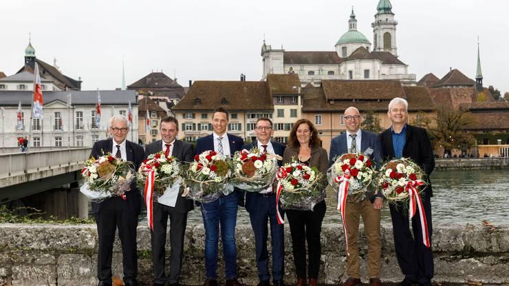 Die gewählten Parlamentarier: Kurt Fluri (FDP), Walter Wobmann (SVP), Christian Imark (SVP), Pirmin Bischof (CVP), Franziska Roth (SP), Stefan Müller-Altermatt (CVP) und Felix Wettstein (Grüne)