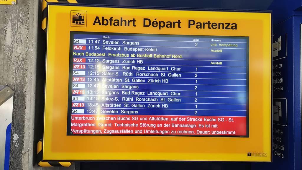 Züge zwischen Buchs und Oberriet fahren wieder