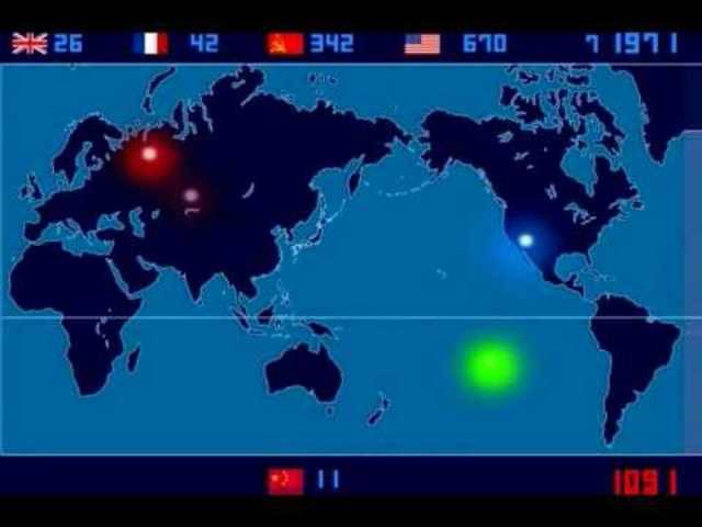 Alle atomaren Explosionen von 1945 bis 1998.