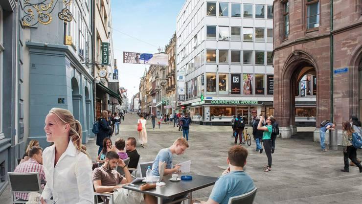 2020 beginnen die Bauarbeiten für die neu gestaltete Freie Strasse in Basel.