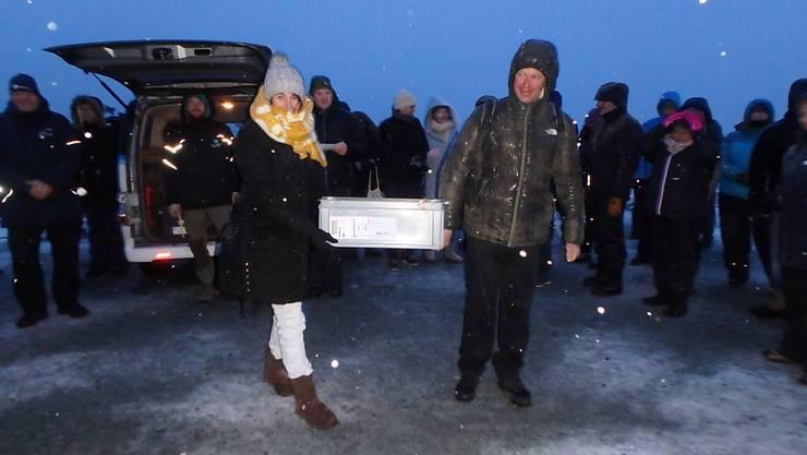 Eine der Kisten vor der Einlagerung im Gentresor von Svalbard in Norwegen.