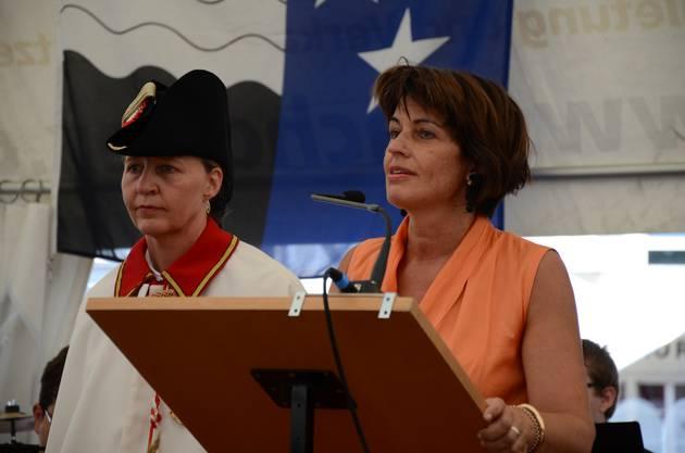 Bundesrätin Doris Leuthard hielt in Villmergen die 1. August-Rede und ermahnte die Schweizer, miteinander zu arbeiten und nicht gegeneinander.