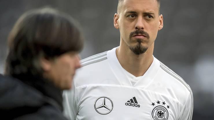 März 2018 – da war die Welt noch in Ordnung: Sandro Wagner in der deutschen Nationalelf unter Bundestrainer Joachim Löw.