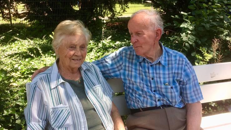 Auf dem Bild ist die Jubilarin Paula Beerli  aus Schönenwerd mit ihrem Ehemann Josef Beerli, aufgenommen am 23.6.2020
