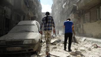 Die Zerstörung nach einem Luftschlag in Aleppo