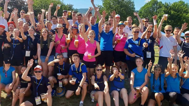 Die Turnvereine aus Erlinsbach SO und AG feiern gemeinsam den erfolgreichen Wettkampftag