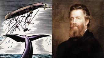 Illustration aus der Novelle «Moby Dick» von Herman Melville (links). Herman Melville um 1870, gemalt von Joseph Eaton (rechts).