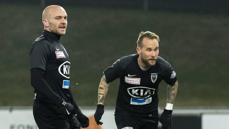 Die FCA-Toptorjäger Marco Schneuwly (links) und Markus Neumayr haben ihre Verträge bislang nicht verlängert