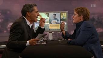 Roger Schawinski und Magdalena Martulla-Blocher streiten im Schweizer Fernsehen – zwei Stellen aus der kritisierten Sendung vom 29. Oktober.