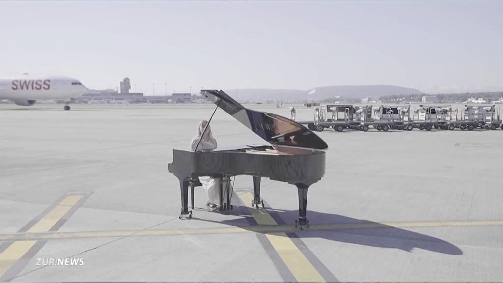 Embracherin dreht Musikvideo auf leerem Flughafen Zürich