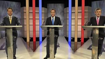 Nick Clegg, David Cameron and Gordon Brown (v.l.n.r.)