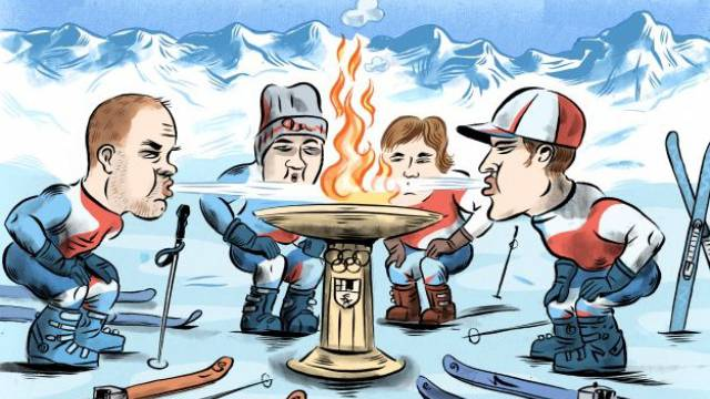 Enttäuschen Didier Défago (l.), Carlo Janka (r.) und Co. auch an der WM, könnten sie damit auch das olympische Feuer in Graubünden löschen. Karikatur: Andrea Caprez
