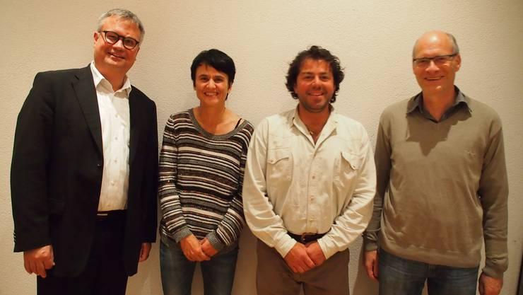 Die Schulleitung der Kreisschule Gäu (v. l.): Schuldirektor Christoph Kohler sowie die Schulleitungspersonen Quirina Zumbach, Martin Erzer und Martin Imobersteg.