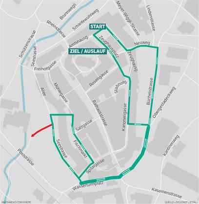 Der Rundkurs des Liestaler Stadtlaufs 2017 mit Start und Ziel auf dem Zeughausplatz. Von der Seestrasse gehts auf die Zusatzschlaufe im Oristal (roter Pfeil).