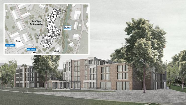 Das Siegerprojekt «Margerite» sieht diesen Neubau für das Alterszentrum Würenlos auf der Zentrumswiese vor. (Visualisierung: ZVG)