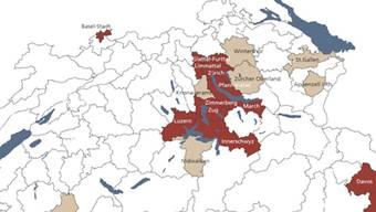 Neu gilt auch Luzern als Gefahrenregion (rot eingefärbt), neben den bestehenden Zentren um Zürich, Genf und Basel.