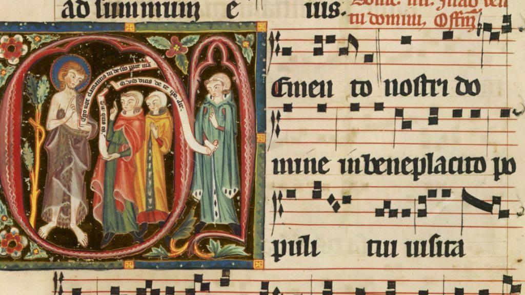 Ausschnitt aus dem reich verzierten spätgotischen Choralbuch Graduale des Klosters St. Katharinental bei Diessenhofen TG.