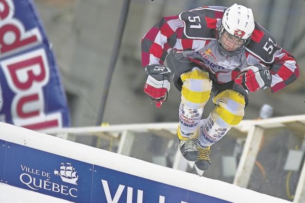 Kilian Braun während eines Crashed-Ice-Runs am letztjährigen Saisonfinale in Quebec