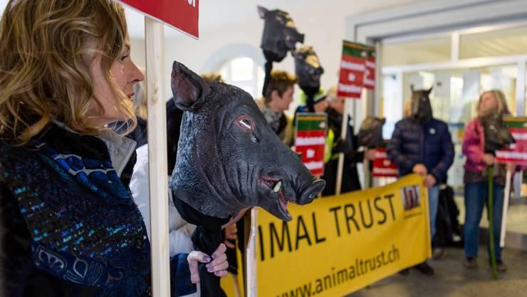 Tierschützer demonstrieren am Prozess gegen den Wildschwein-Killer von Böttstein