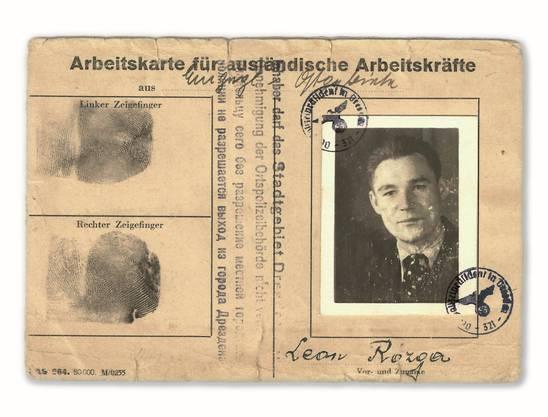 Arbeitskarte des Polen Leon Rozga, der während der Nazi-Zeit in Dresden beim Circus Sarrasani als Tierpfleger arbeitete.