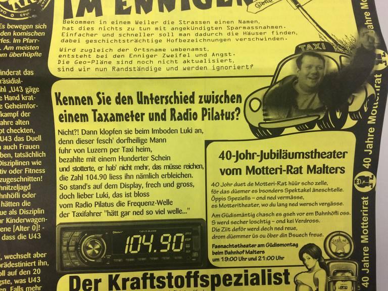 Lukas Imboden in der Fasnachtszeitung von Malters.