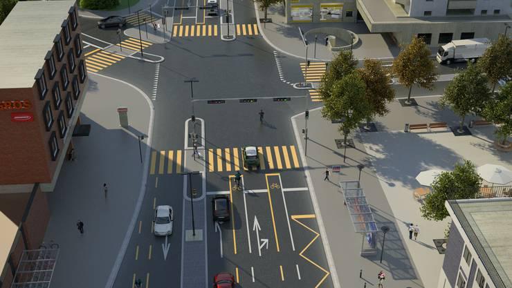 Obwohl diese Visualisierung des Kantons von 2013 stammt, vermittelt sie einen guten Eindruck, was sich an der Kreuzung alles verändern soll. Der Parkplatz vor dem alten Schulhaus könnte in einen Platz umgewandelt werden (rechts) .