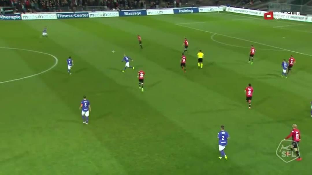 37. Minute: Der FC Schaffhausen meldet sich zurück, es fällt das 3:1 dank Danilo Del Toro und Helios Sessolo.