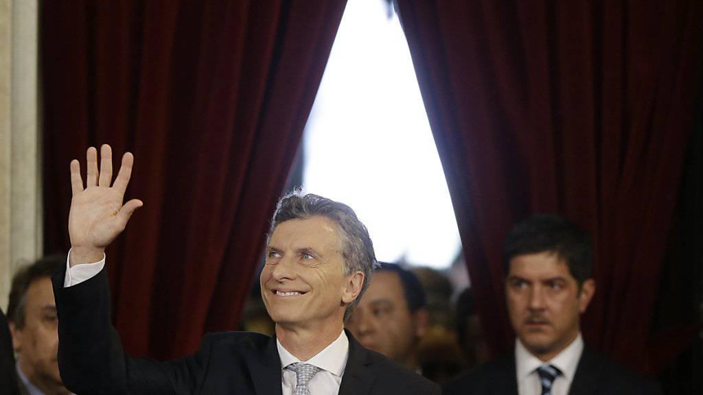 Mauricio Macri bei seiner Ankunft im Kongress, kurz bevor er den Amtseid als neuer argentinischer Präsident ablegte.