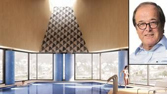 Investor Beno Zehnder: «Von Unterstützung kann man nur beschränkt reden.» Im Bild das Bewegungsbecken des Thermalbades in einer neuen Visualisierung von Architekt Mario Botta.