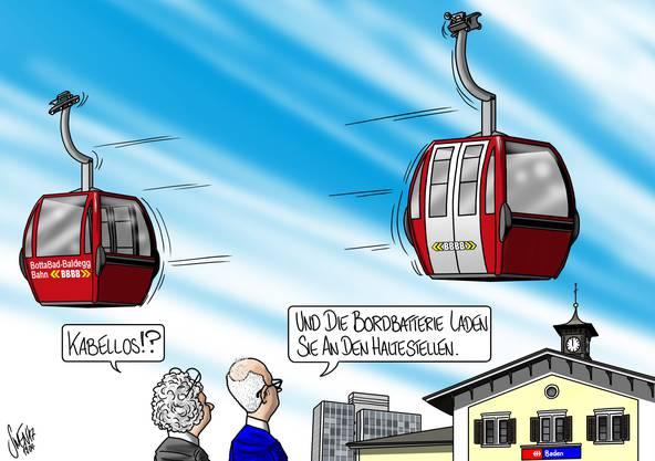 Hochfliegende Pläne: Auch der Bau einer Gondelbahn und der Einsatz von Elektrobussen sind in Baden ein Thema. Die Karikatur von Silvan Wegmann zum Thema.