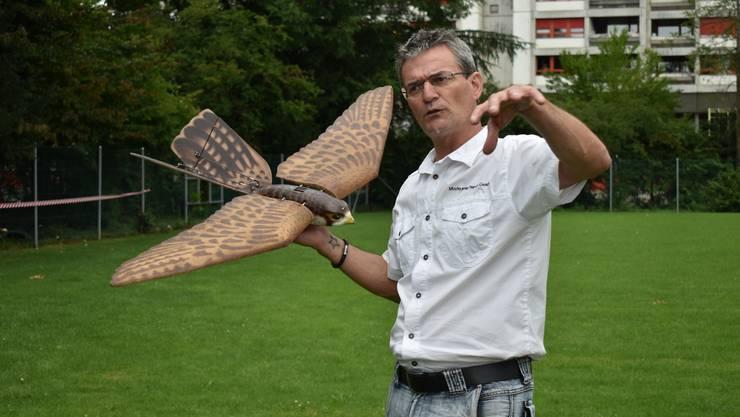 Marcel Maurer, CEO der FirmaEagle Eye Multicopter Services GmbH, war mit dem Robotervogel «Robird» bereits letztes Jahr in der Kaiseraugster Liebrüti im Einsatz.