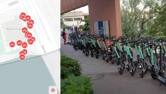 Die E-Mobilität-Flut sammelt sich während der Sommermonate an einem Ort in Basel: Beim Tinguely-Museum.