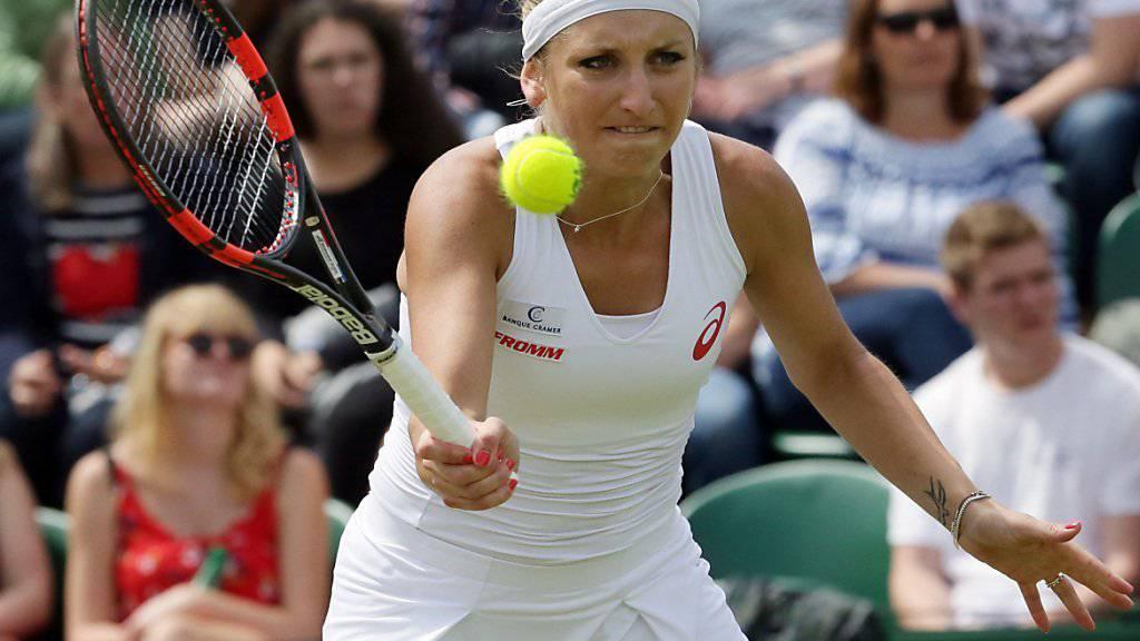 Alles im Blick und im Griff: Timea Bacsinszky zog nach einem harzigen Start in die 2. Runde des Grand-Slam-Turniers in Wimbledon ein