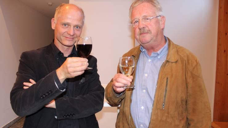 Daniel Gäumann, links, der neue Stadtbaumeister von Grenchen, mit Claude Barbey, der verabschiedet wurde
