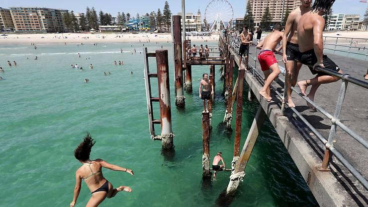 Abkühlung in Adelaide. Dort ist es derzeit 46,6 Grad Celsius.