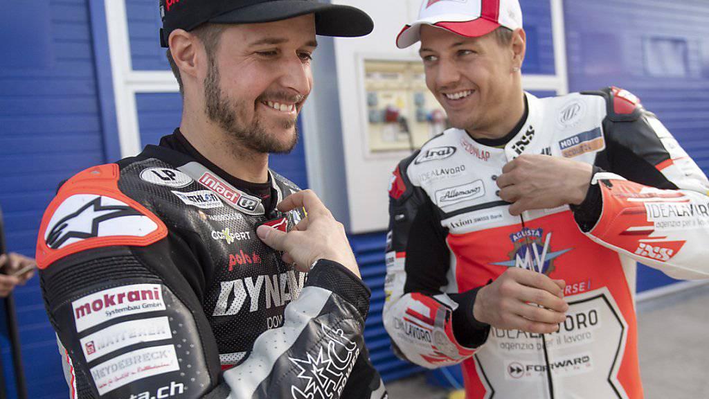 Tom Lüthi (links) und Dominique Aegerter blicken an den offiziellen Moto2-Testtagen in Jerez der neuen Saison 2019 noch zuversichtlich entgegen