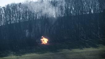 Baumsprengung der Schweizer Armee im Schenkenbergertal