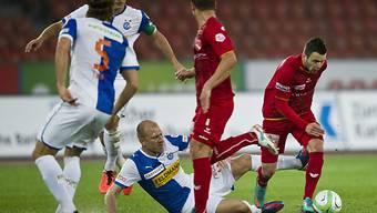 Der Thuner Renato Steffen (r.) auf dem Weg zum 1:0 gegen GC.