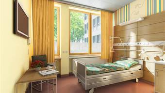 Die Patientenzimmer auf der Palliativpflege sind die einzigen Zimmer, die am Zürcher Universitätsspital farbige Wände erhalten. Visualisierung zvg