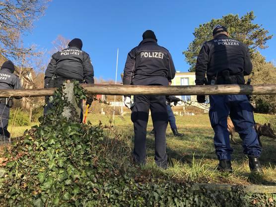 Die Kantonspolizisten durchforsten am Freitagmorgen die Umgebung nach Hinweisen zur unbekannten Täterschaft.