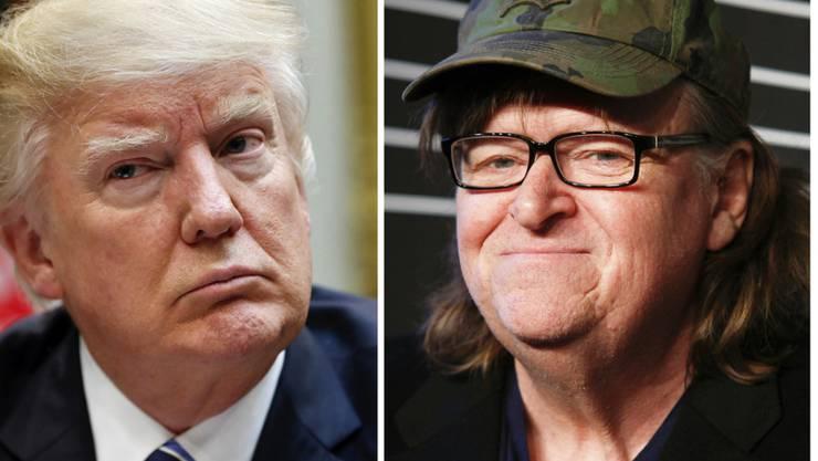"""Michael Moore (rechts) denkt nicht daran, Präsident Donald Trump in Ruhe zu lassen: Mit der Enthüllungsplattform namens """"Trumpileaks"""" will der US-Filmemacher weiter gegen dessen """"Tyrannei"""" vorgehen. (Archivbild)"""