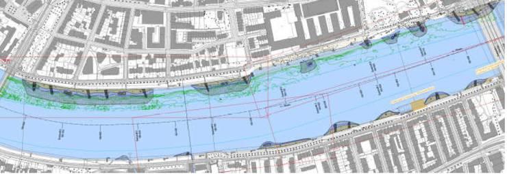 Pläne zeigen die geplanten Buhnen im Kleinbasel. bz-ArchivBVD