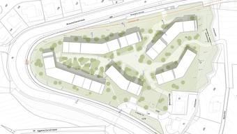 Die Überbauung «Heinrüti» verbindet städtebauliche Planung mit der Idealvorstellung vom «Wohnen auf dem Land». Visualisierung: lilin architekten