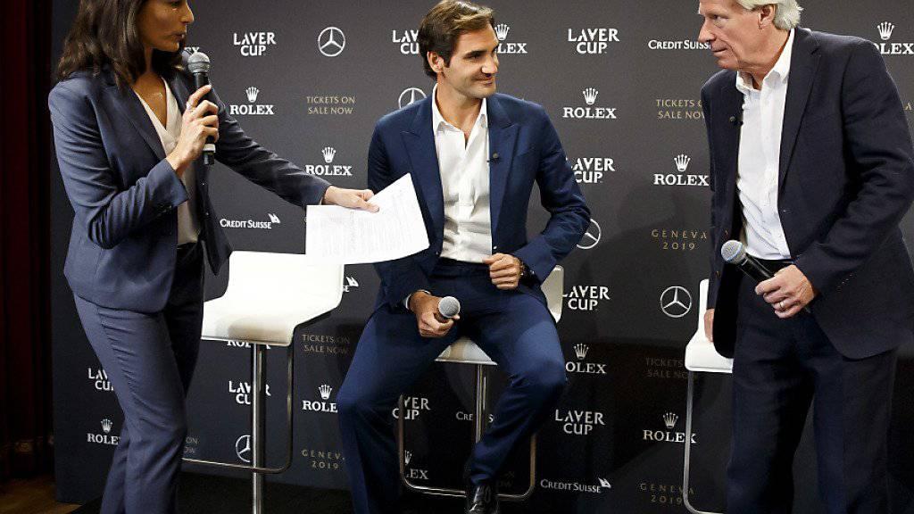 Roger Federer (Bildmitte) bei der Präsentation des Laver Cups 2019 in Genf