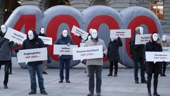 Demonstration für den Mindestlohn vor dem Bundeshaus - hehres Ziel, aber falsches Mittel.