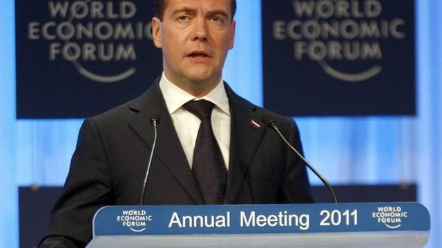 Russlands Präsident Dmitri Medwedew in Davos