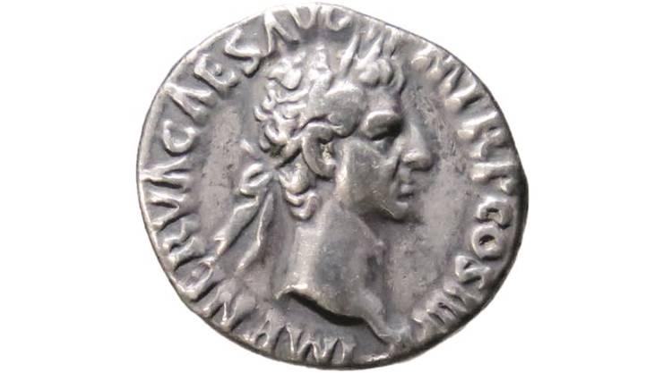 In Matzendorf gefunden: Münze aus dem Jahr 97 nach Christus mit Kopf des römischen Kaisers Nerva.